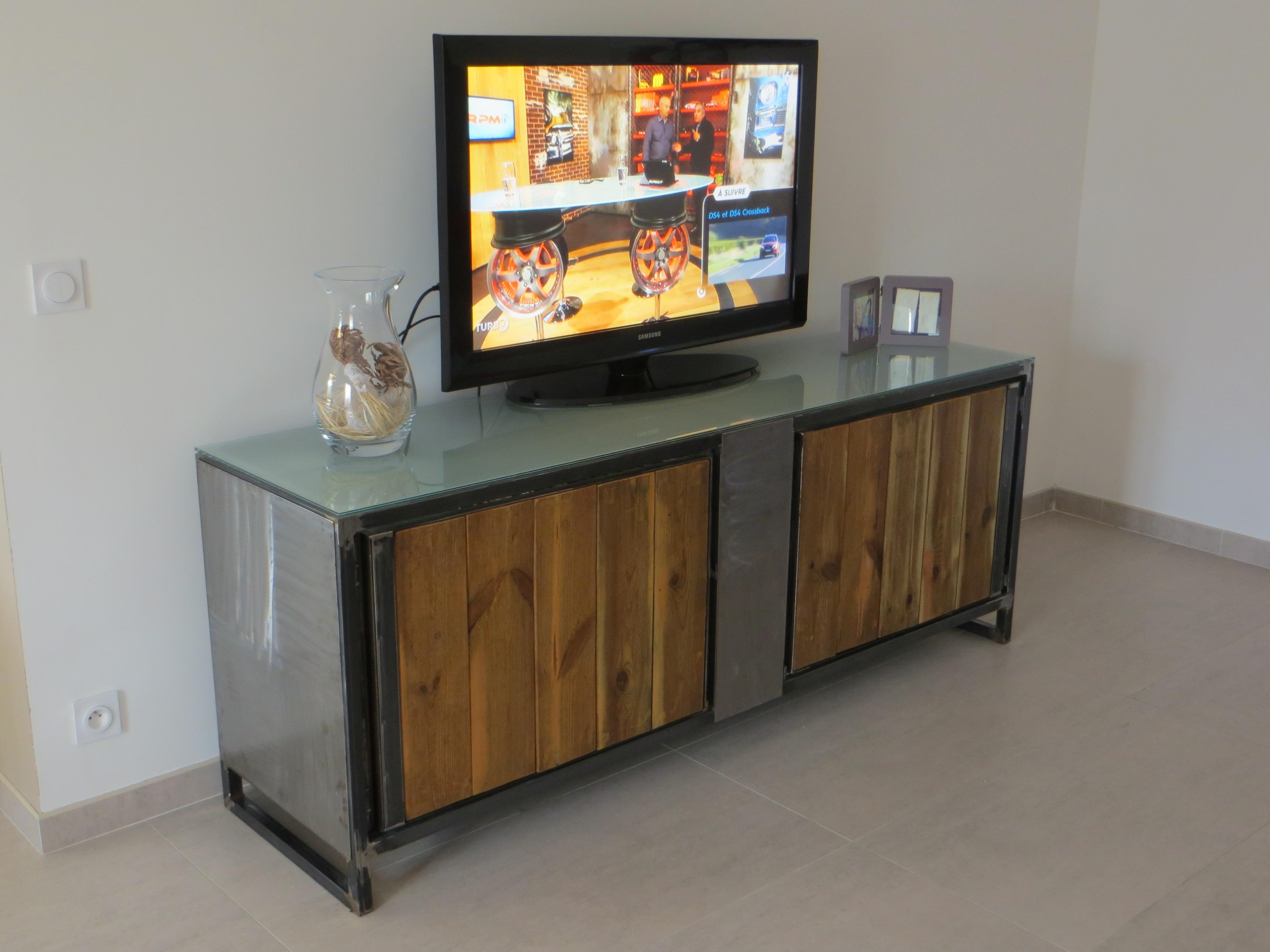 Meuble tv en fer bois et verre sfc ferr art - Meuble tv verre et bois ...